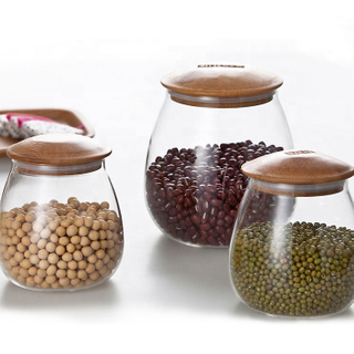 Grains Tea Leaf Coffee Beans Candy Food Jar Cylinder Bamboo Lid Glass Airtight Canister Storage Bottles Jars