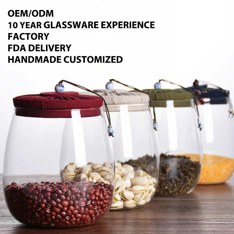 Hot sale Premium Quality High Borosilicate Glass Jar Kitchen Food Storage Canister Container with Wooden Airtight Lid