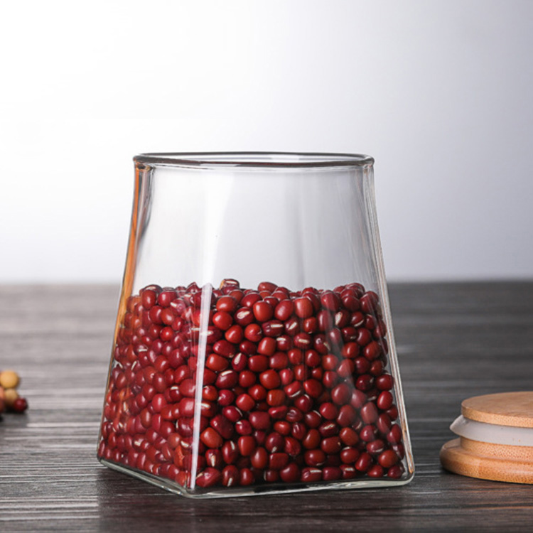 Whosale Custom Glass Jar Containers With Bamboo Lid Food Use Glass Jar