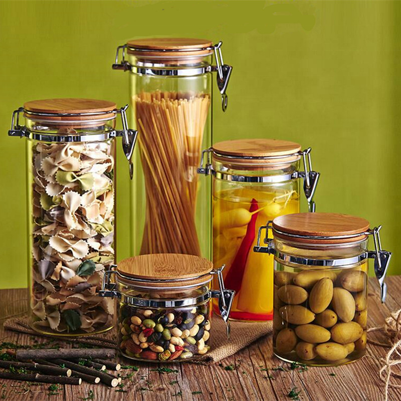 Housewares Borosilicate Glass Material Storage Bottles Jars With Wooden Lid
